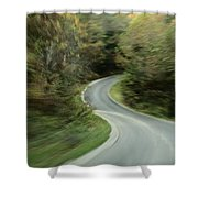 Time-exposed View Of Route 49 Taken Shower Curtain