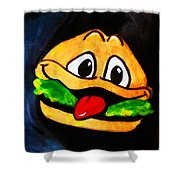 Time For A Happy Burger Shower Curtain