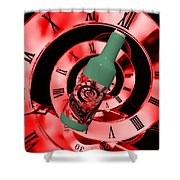 Time In A Bottle Red Shower Curtain