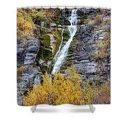 Timpanogos Waterfall In The Fall - Utah Shower Curtain