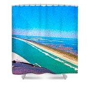 Tiny Airplane Big View II Shower Curtain