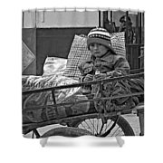 Tiny Biker 2 Monochrome Shower Curtain