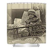 Tiny Biker 2 Sepia Shower Curtain