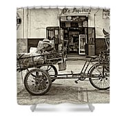 Tiny Biker Sepia Shower Curtain