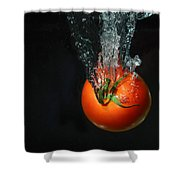 Tomato Falling Into Water Shower Curtain