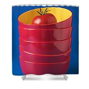 Tomato In Stacked Bowls Shower Curtain by Garry Gay