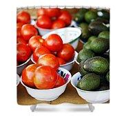 Tomato Y Avacado Shower Curtain