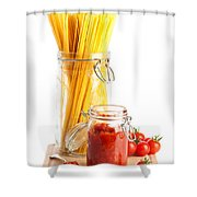 Tomatoes Sauce And  Spaghetti Pasta  Shower Curtain by Amanda Elwell