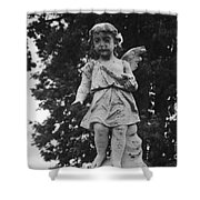 Tombstone Angel Bw Shower Curtain