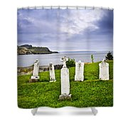 Tombstones Near Atlantic Coast In Newfoundland Shower Curtain by Elena Elisseeva