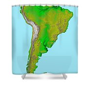 Topographic View Of South America Shower Curtain