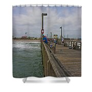 Topsail Island Sc Pier Shower Curtain