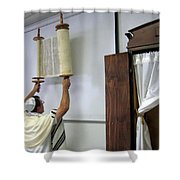Torah Being Lifted Up Shower Curtain