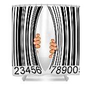 Torn Bar Code Shower Curtain by Carlos Caetano