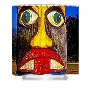 Totem Pole With Tongue Sticking Out Shower Curtain