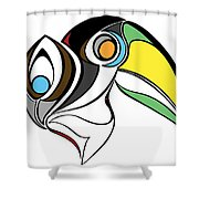Toucan And Company On White Shower Curtain