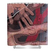 Touch And Red Zipper Shower Curtain