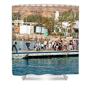 Tourists Waiting To Climb Onto Dive And Snorkeling Boats At Sharm El Sheikh Shower Curtain
