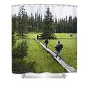 Tourists Walking On Boardwalk Shower Curtain