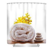 Towel Roll Shower Curtain by Atiketta Sangasaeng