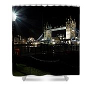 Tower Bridge And Riverside Night View  Shower Curtain