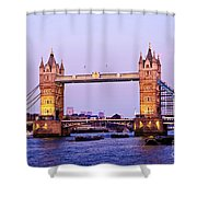 Tower Bridge In London At Dusk Shower Curtain