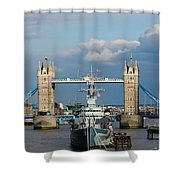 Tower Bridge With Hms Belfast Shower Curtain