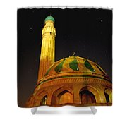 Towering Mosque In The Night Shower Curtain by Rick Frost