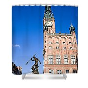 Town Hall And Neptune Fountain In Gdansk Shower Curtain