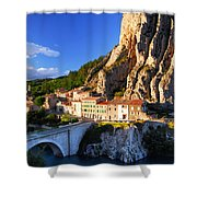 Town Of Sisteron In Provence France Shower Curtain