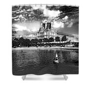 Toy Boating In A Parisian Park Bw Shower Curtain