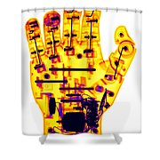 Toy Robotic Hand X-ray Shower Curtain
