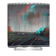 Tracking The Storm - Red-cyan Filtered 3d Glasses Required Shower Curtain