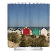 Traditional Beach Huts In The Sand Shower Curtain