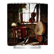 Traditional Musical Instruments, In Old Shower Curtain