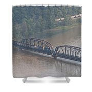 Train Along New River 3 Shower Curtain