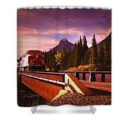 Train Going Over A Bridge Banff Shower Curtain