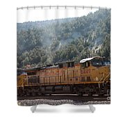 Train In Spanish Fork Canyon Shower Curtain