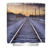 Train Tracks And Color 2 Shower Curtain