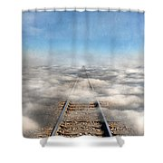 Train Tracks Into The Clouds Shower Curtain