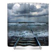 Train Tracks Into The Sea Shower Curtain