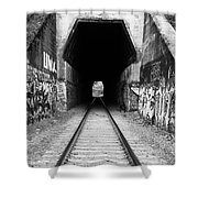 Train Tunnel At The Muir Trestle In Martinez California . 7d10235 . Black And White Shower Curtain