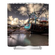 Trawler At New Quay Shower Curtain