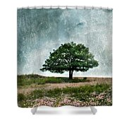 Tree And Wildflowers  Shower Curtain