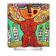 Tree Blessing Goddess Shower Curtain