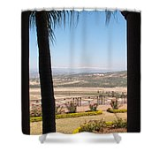 Tree Blocking View Of Garden And Valley And Ice-capped Mountains Shower Curtain