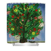 Tree In The Blue Room Shower Curtain