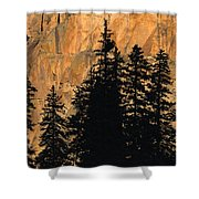 Tree Silhouettes In Front Of Cliff Face Shower Curtain