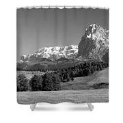 Treeline Across Alpi Di Siusi In The Dolomites Shower Curtain
