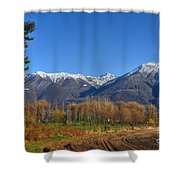 Trees And Mountain Shower Curtain